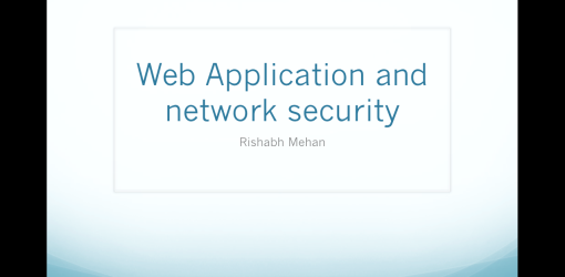 Web Application and Network Security